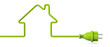 Leinwandbild Motiv Green power plug - house