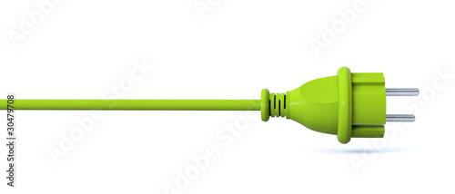 Leinwanddruck Bild Green power plug - line
