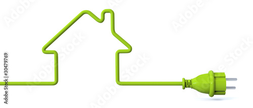 Green power plug - house - 30479769
