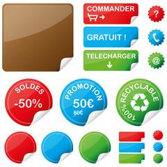 Etiquettes colorées, vecteur