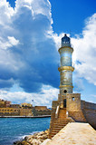 old light house in Chania port - Crete,Greece
