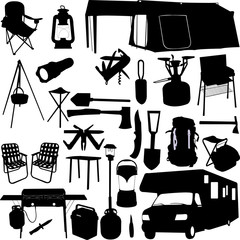 camping equipment 2 - vector