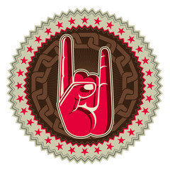 Illustrated rock and roll hand sign.