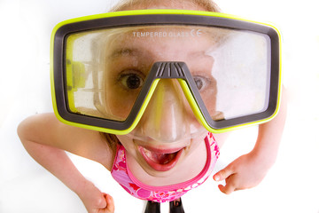 Happy Kid with large scuba mask