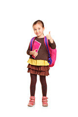 Full length portrait of a school girl with backpack holding book