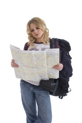 Backpacker reading a map