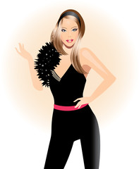 Fashion illustration-Beautiful girl in black dress