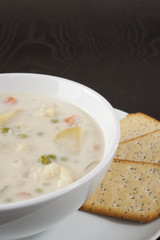 Creamy Cauliflower Soup with Crackers