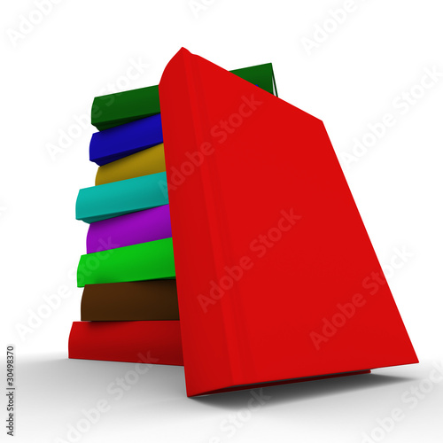 Pile of books. isolated 3D image on white