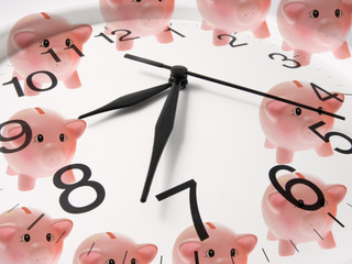 Clock and Piggy Banks