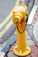 An image of a yellow fire hydrant in a urban side walk.