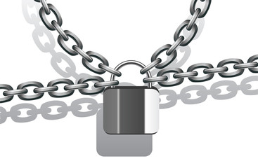vector illustration of metal chain and lock