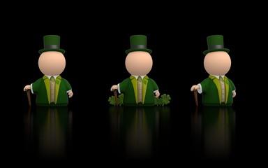 Irish icon person for St Patricks day - black version render
