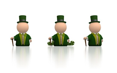 Irish icon person for St Patricks day - white version render