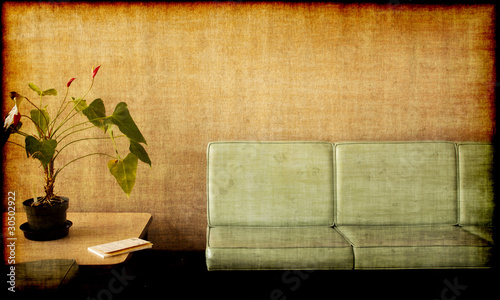 Grungy photo - room , plant, chairs