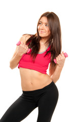 woman instructor on diet weights dumbbells fitness