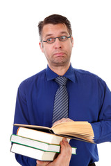 male nerdy geek is reading books over white background