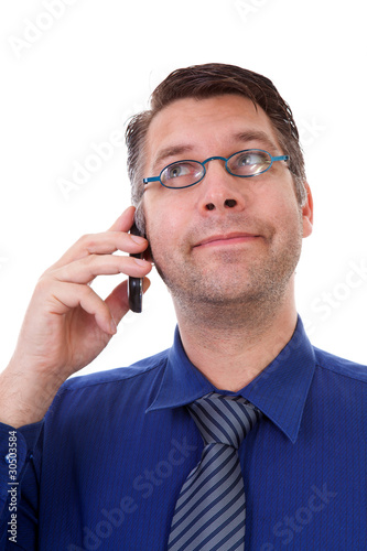 male nerdy geek on the phone over white background