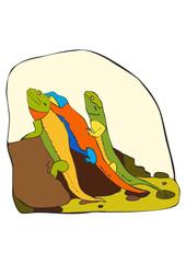 Three multi-coloured lizards sit on a stone