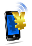 Pay by Mobile, Cell Smart Phone Renminbi, Yen