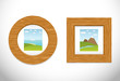 2 wooden frame with pictures. Vector illustration.