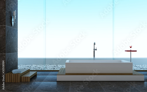 Minimalistic modern design style of a bathroom