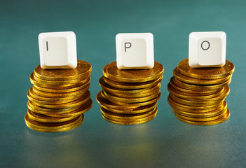 IPO letter on gold coins stack