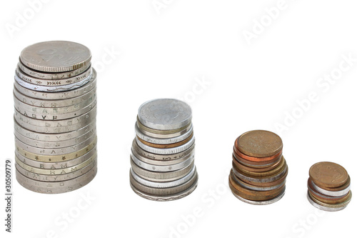 Stacks of coins from different countries