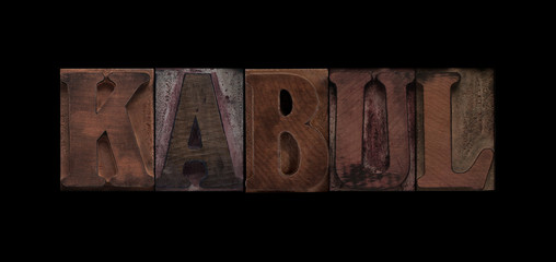 the word Kabul in old letterpress wood type