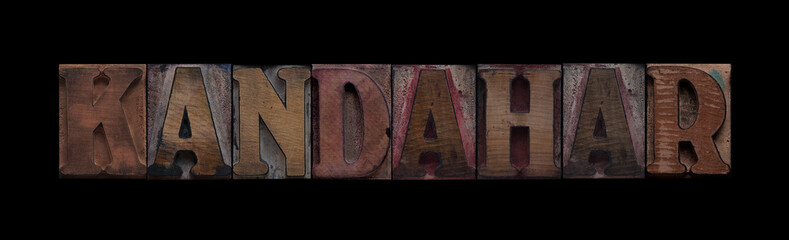 the word Kandahar in old letterpress wood type