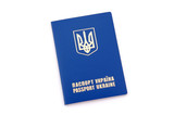 Ukrainian foreign passport, isolated on white background poster