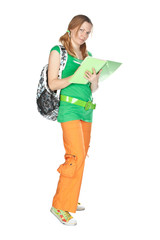 Student with backpack and notebook.