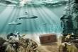Treasure chest in sea