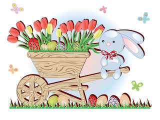 Easter, handcart and bunny