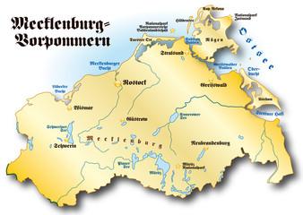 Mecklenburg-Vorpommern Übersicht gold
