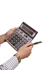 Male businessman using a calculator
