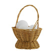 three white eggs in straw interwoven basket isolated on white