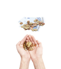 Male hands holding coins isolated