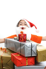 boy with large present at christmas time