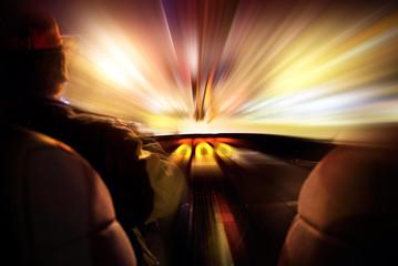 concepto de velocidad e interior de coche