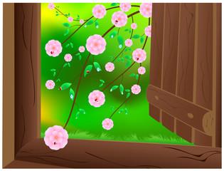 Open door with wild pink cherry