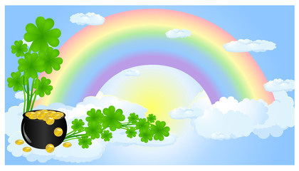 Rainbow in clouds with pot gold and clover