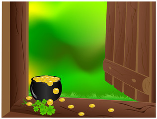 Open door with pot golden coins