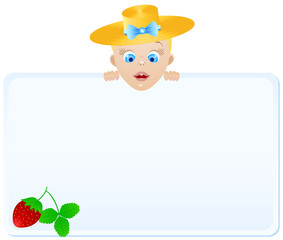 Boy in hat with poster berry