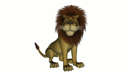 Cartoon lion sitting down and roaring.