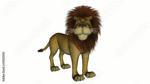 Cartoon lion standing and roaring.