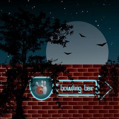"Neon sign ""bowling bar"" on the wall - vector illustration"
