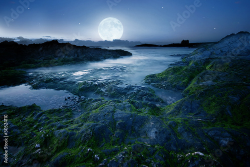 Foto op Plexiglas Volle maan Full moon over the beach