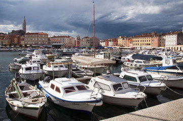 Croatia -  Rovinj - Port and city with stormy clouds