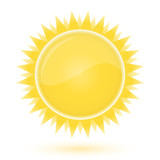 Sun. Weather forecast glossy icon poster